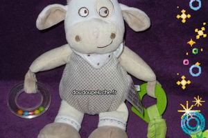Doudou vache / mouton, beige marron clair, Mots d'enfants, avec boulier, anneau de dentition