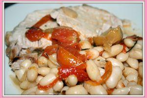Roti de porc aux haricots blancs