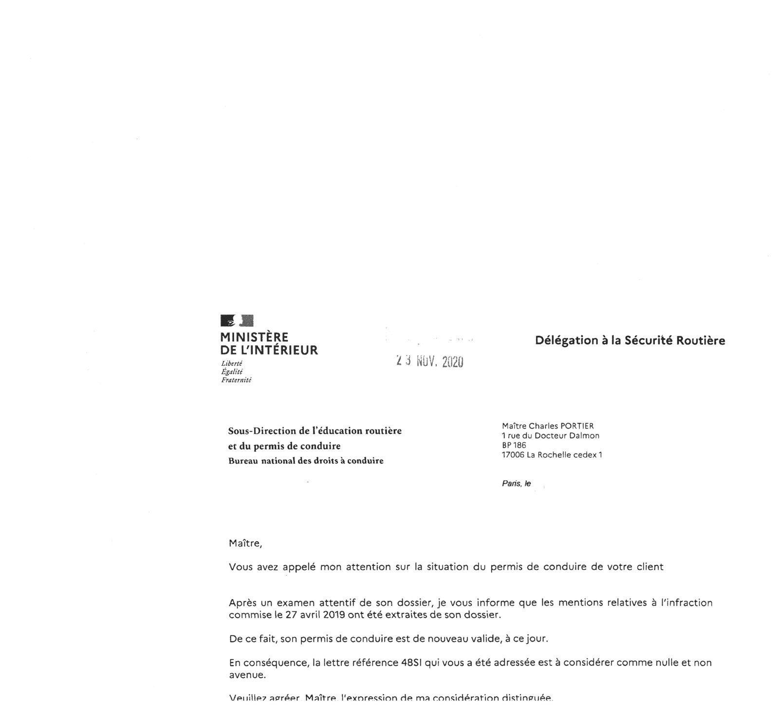 ANNULATION D'UNE LETTRE 48 SI le 23 novembre 2020- PERMIS DE CONDUIRE REVALIDE