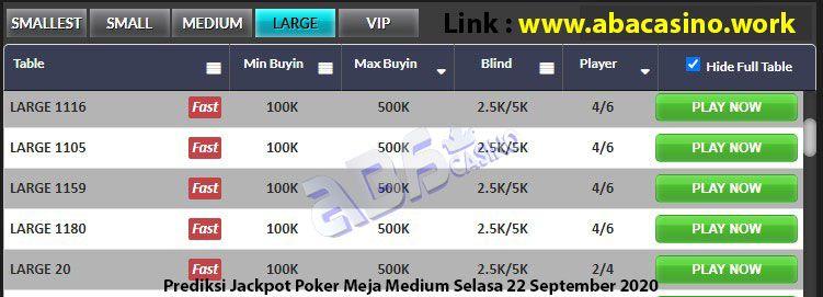 prediksi jackpot pokerqq meja large selasa 22 september 2020