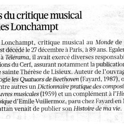 Nécrologie de Jacques Lonchampt