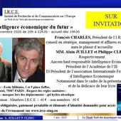 5 NOV - A. JUILLET ET P. CLERC - L'INTELLIGENCE ECONOMIQUE DU FUTUR - I.R.C.E. Institut de Recherche et de Communication sur l'Europe - www.irce-oing.eu
