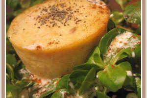 Moelleux au saumon coeur coulant crème ciboulette