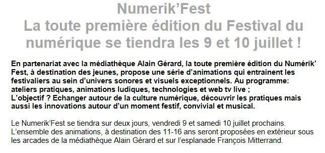 Festival du numérique à Quimper (communiqué)
