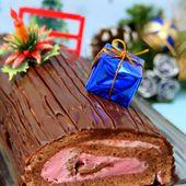Bûche de Noël au chocolat et à la mousse de framboises - Amandine Cooking
