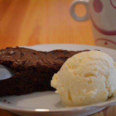 Brownies et glace vanille