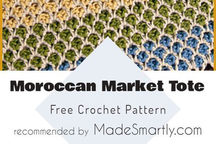 Moroccan Market Tote - Free Crochet Pattern #crochetpattern #crochetbag #freecrochetpatterns #yarns #crochetaddict #totebag