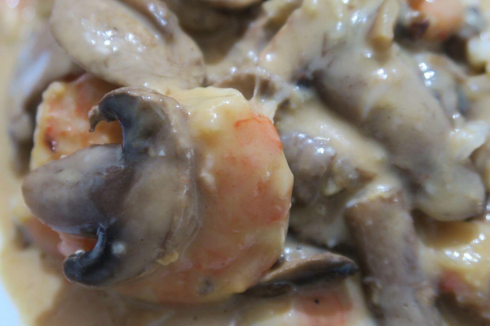Gratin de crevettes aux champignons