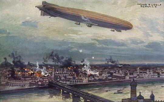 El bombardeo de Varsovia en 1914 por el dirigible alemán Schütte Lanz SL2.