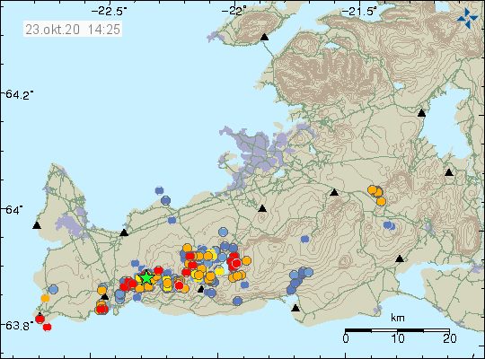 Reykjanes Peninsula - location and magnitude of earthquakes as of 23.10.2020 / 2 p.m. - Doc. IMO