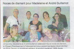 Noces de diamant pour Madeleine et André Guillemot (Article Ouest-France 22/08/2019)