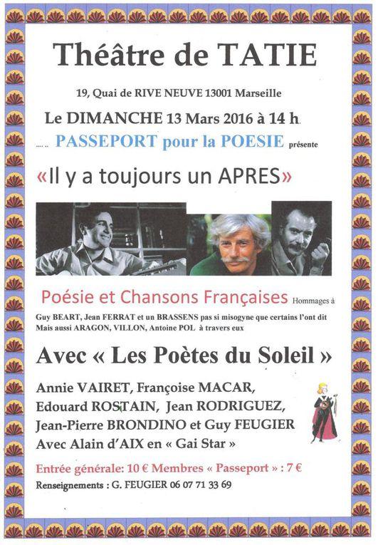 13 mars Edouard chez Guy Feugier  à 14h _Un duo de choc- Claude Camous- Alain d'Aix à la cité des associations jeudi 24 mars 17h.