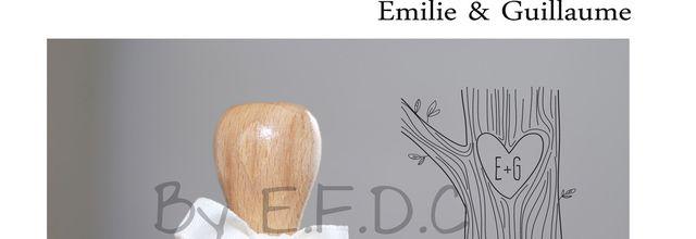 Tampon de mariage sur mesure thème bois d'Emilie et Guillaume