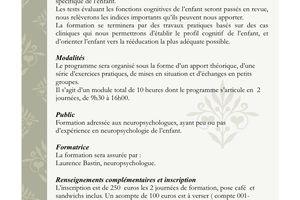 Formation -La neuropsychologie de l'enfant : le Testing - 4-5 août 2011