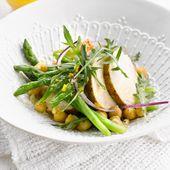 Recette facile : Salade de pois chiches et asperges à la volaille