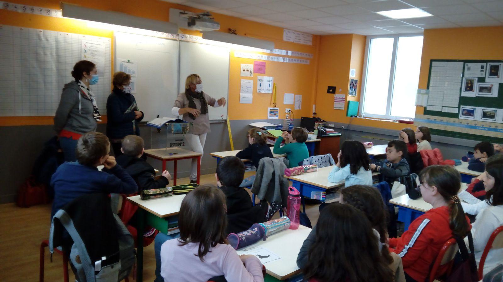 3 conseillères municipales expliquent aux élèves de CM1 et CM2 la mise en place  du conseil municipal des jeunes de Bréhan