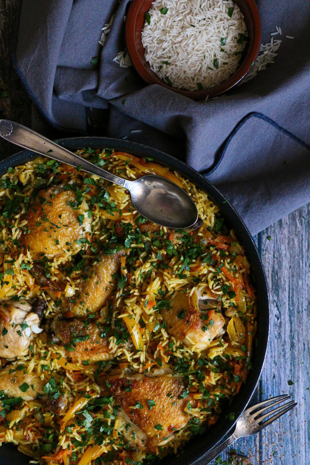Riz au four aux légumes et poulet