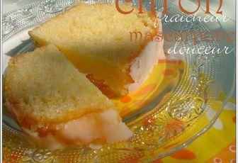 Cake au citron & mascarpone, glacé à l'abricot & au citron