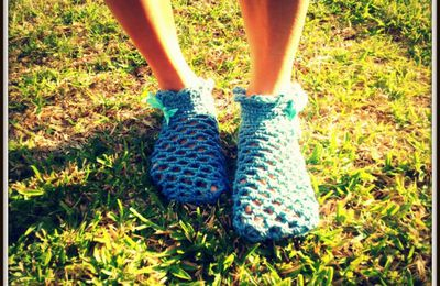 Du bleu...pour mes premières chaussettes au crochet