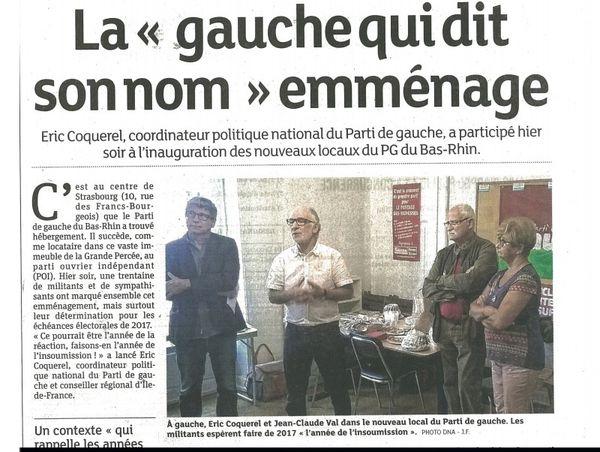 Inauguration du local strasbourgeois du Parti de gauche (PG)