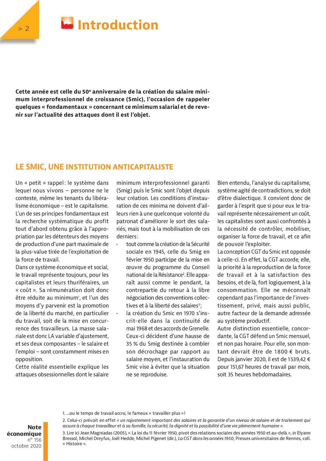 CGT : Le SMIC a 50 ans ....
