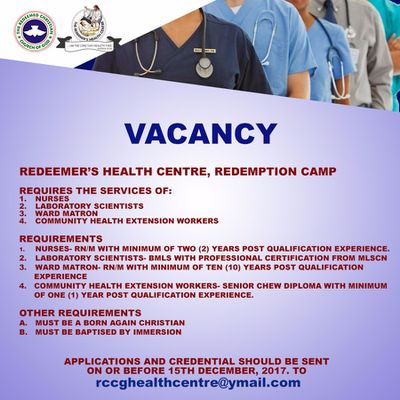 Health Personnel needed in RCCG. Apply now