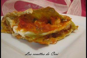 Lasagnes au poulet et 2poivrons gratinées au 4 fromages