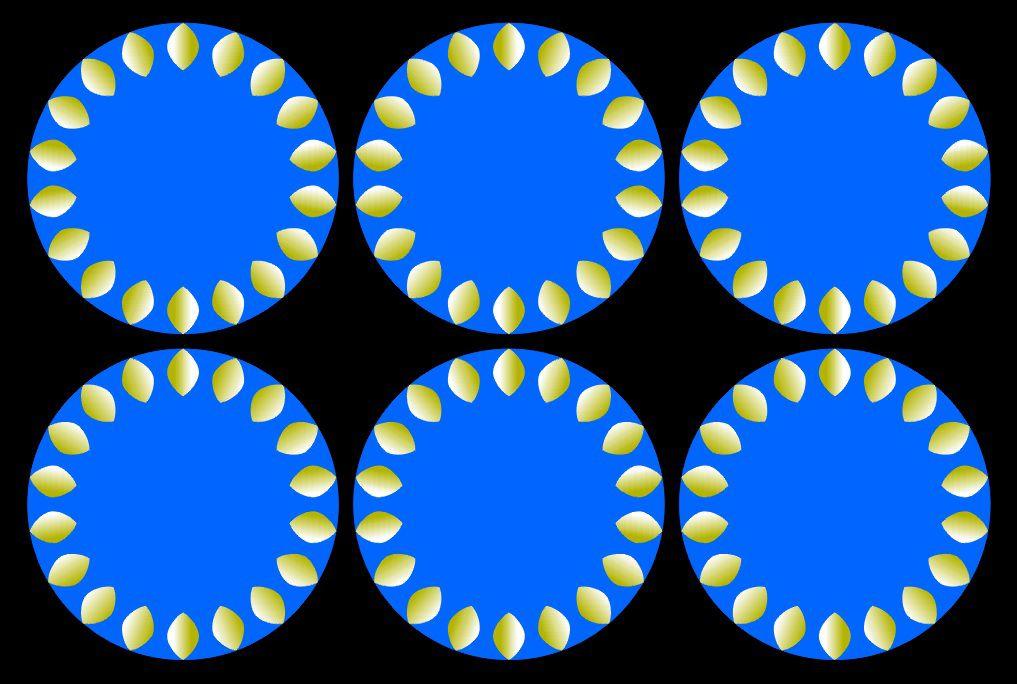 sur fond noir des ronds bleus avec des citrons jaunes ombrés