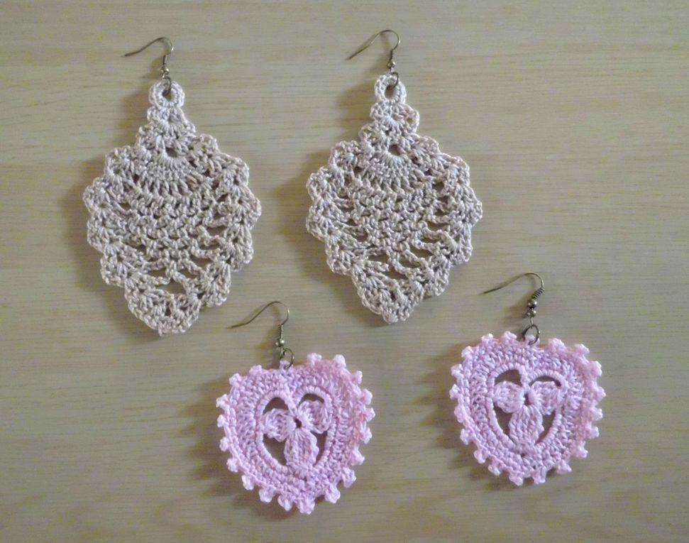 Boucles d'oreilles motifs Ananas et coeur , Bijoux romantique en dentelle fine , au crochet !