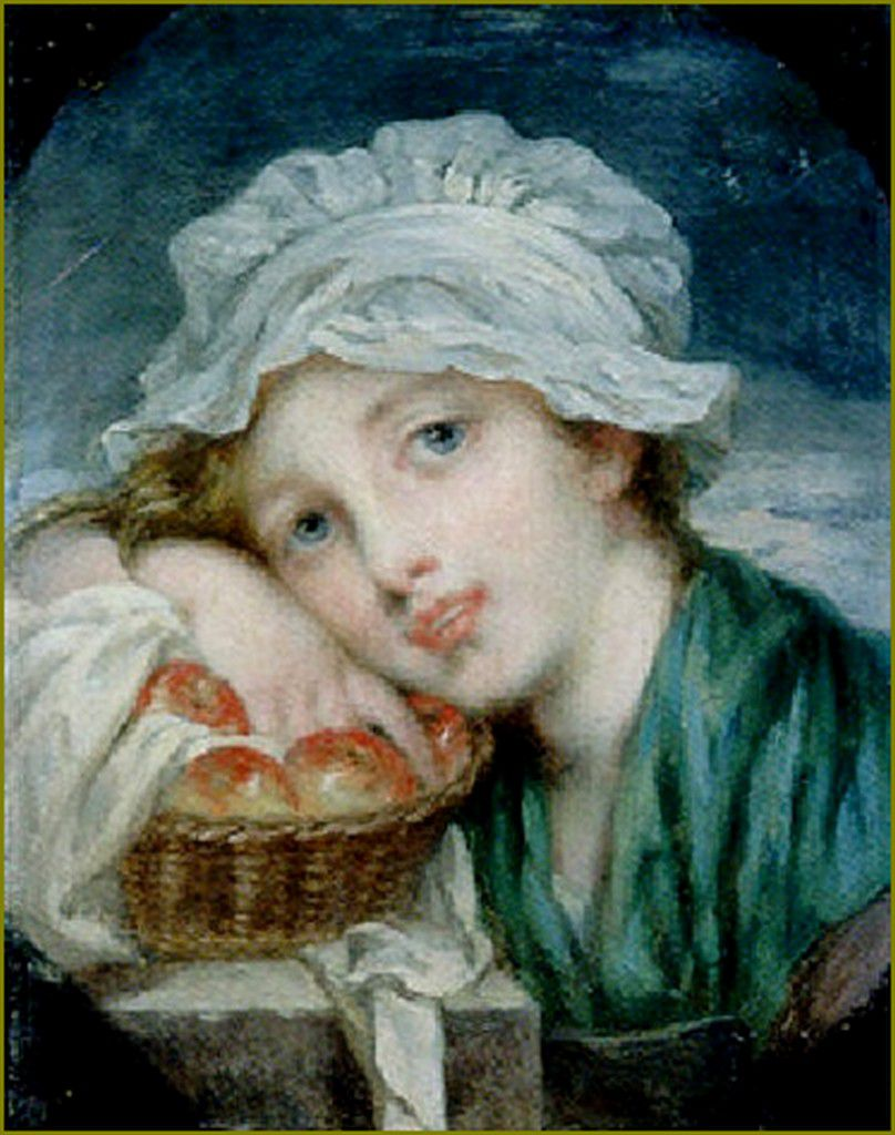 La saison des pommes par les peintres -  Marie Geneviève Bouliard (1772-1819) Jeune fille au panier de pommes