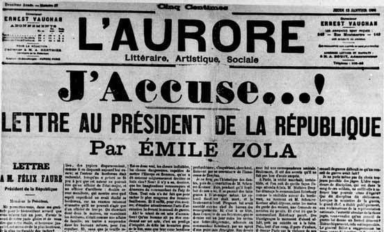 """13 janvier 1898 le """"J'accuse"""" de Zola"""