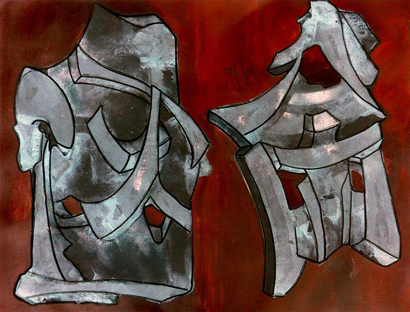 Pochoir, lavis, trait, aplat - Peinture de Jocelyne Hassel