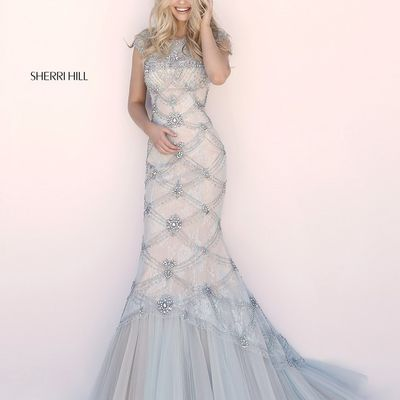 2018 Sherri Hill 51593 Light Blue Long Mermaid Dresses