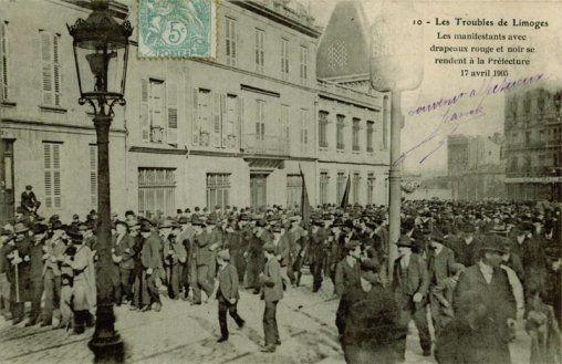 Grève à Limoges en 1905 - Barricades - face à face - Protection policière pour convois Haviland - Porte de prison enfoncée