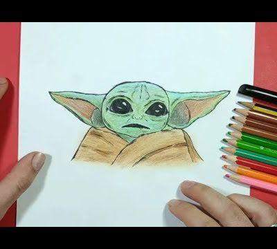 Como dibujar a bebe Yoda paso a paso - Star wars