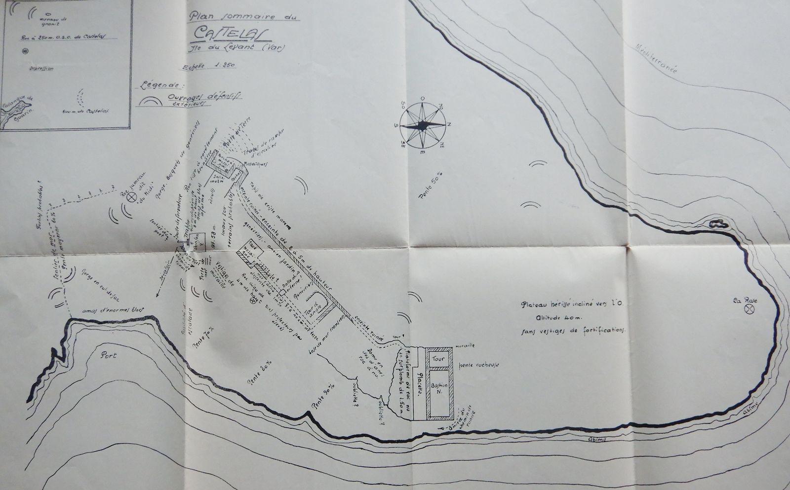 Le Castelas - le plan de 1936 relevés par Auguste Piguet