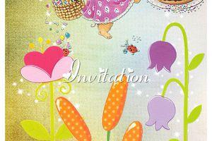 Carte invitation ~anniversaire enfant~et son double sans texte