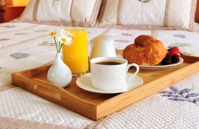 Plateau - Café - Croissant - Jus d'orange - Wallpaper - Free