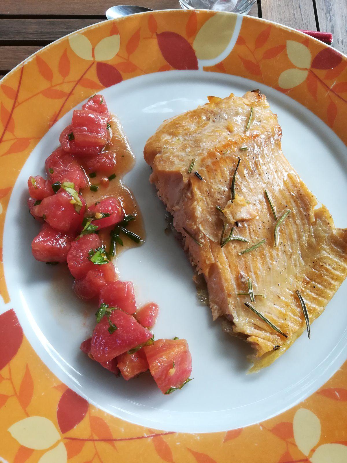 filet de truite marinée cuisson à la plancha