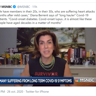 """Emission 26 Octobre 2020 - MSNBC - """"""""We have members in their 20s, in their 30s, who are suffering heart attacks months after mild cases,"""" Diana Berrent says of """"long hauler"""" Covid-19 patients."""