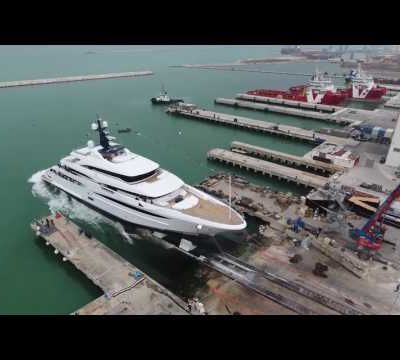 Custom 74 Metre new build Crn Superyacht is launched.