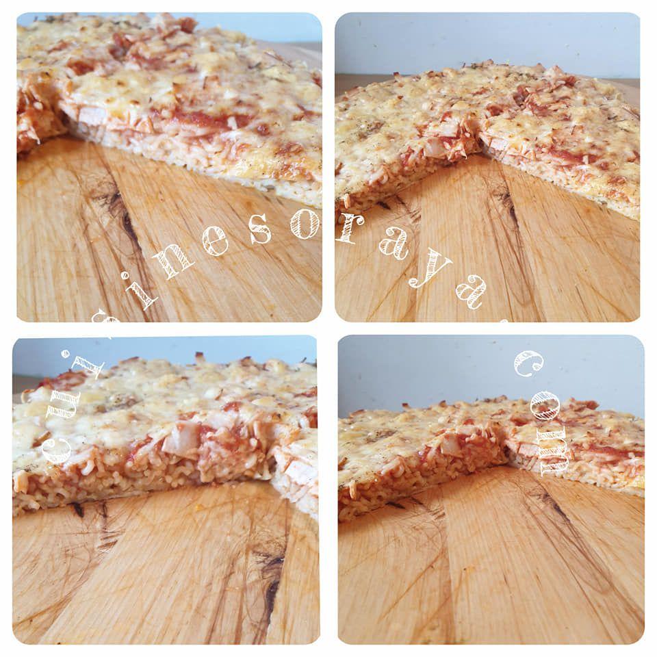 Pizza nouille aux poulet