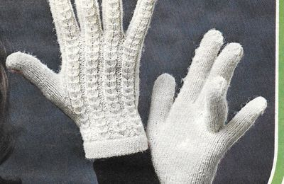 gants tricotés adultes point jersey + torsades