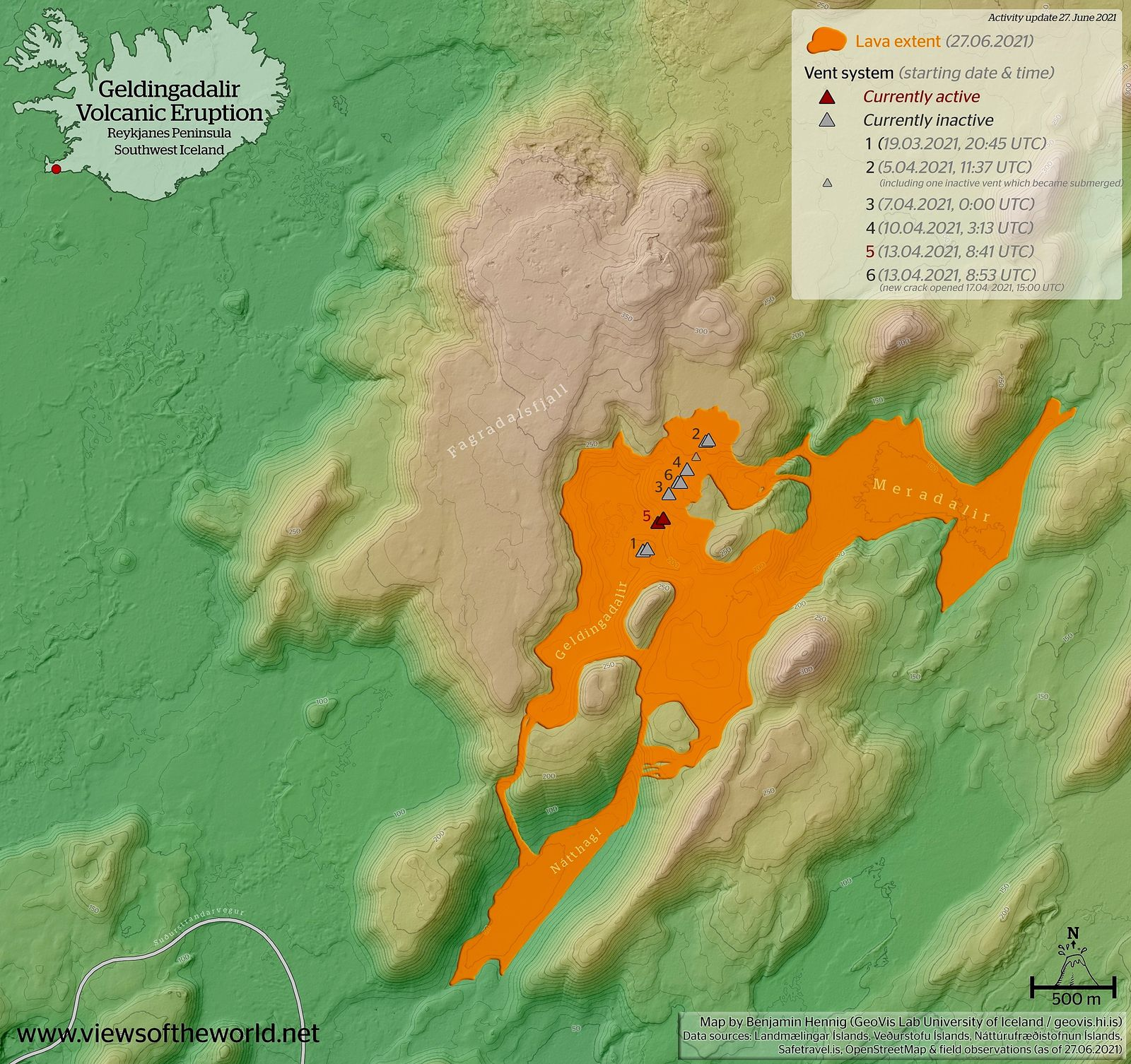 Fagradalsfjall - extent of the lava field on 27.06.2021 - Benjamin Hennig - one click to enlarge