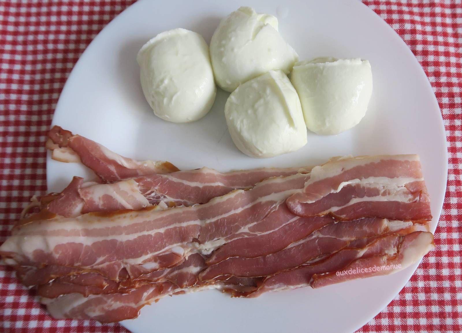 Mozzarella à la poitrine fumée, au four