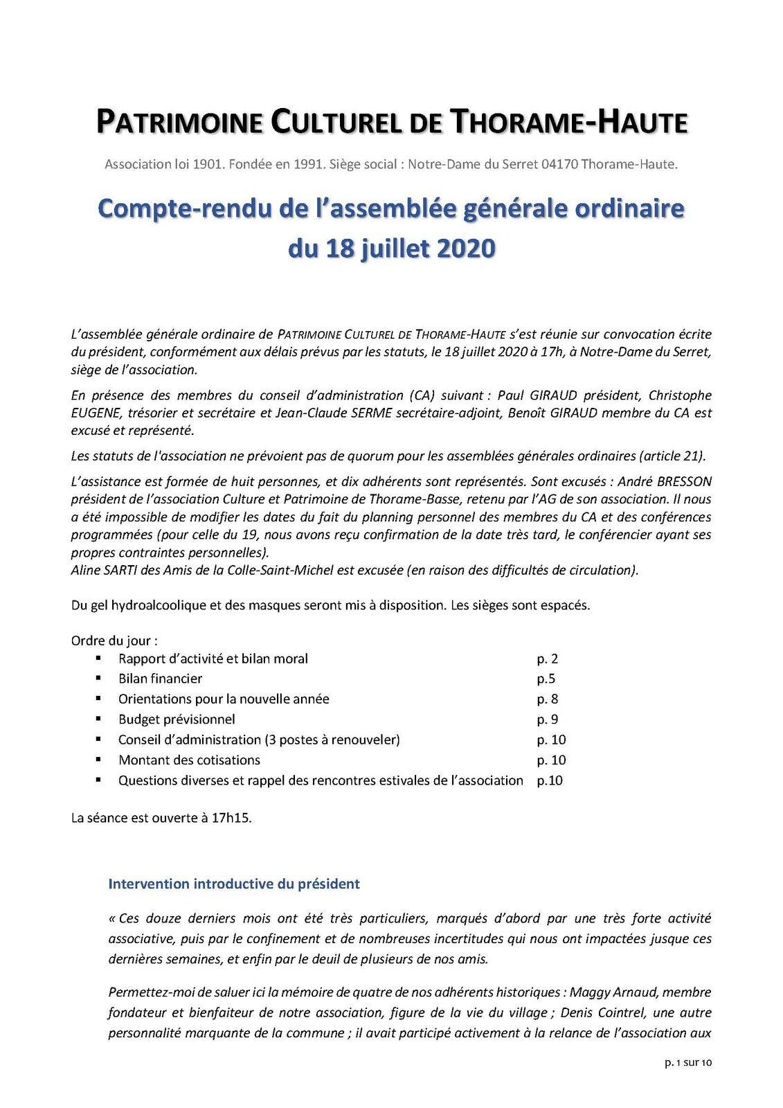 Le Compte rendu de l'AG 2020
