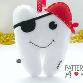Boys Tooth Fairy Pillow Sewing Pattern, Felt Pattern, Craft Fair Pattern, Pirate Tooth Cushion, Tooth Shaped Pillow, Plushie