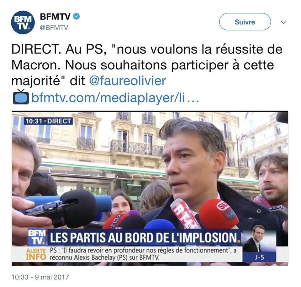 2017 - PS - Olivier Faure soutient Macron