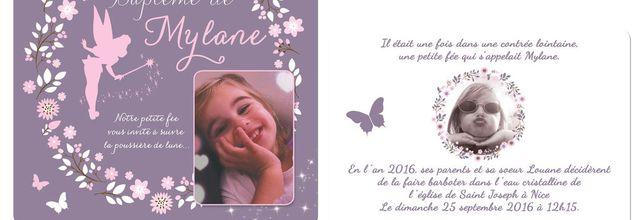 Le faire part de baptême de la jolie Mylane : thème fée clochette et fleurs
