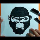 Como dibujar un gorila paso a paso   How to draw a gorilla